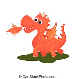 Adorable red dragon breathing with fire. Cute creature with wings and long tail. Fantastic animal. Flat vector design