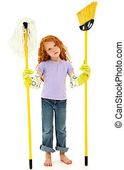 Adorable Redhead Girl Child with Mop and Broom Over White