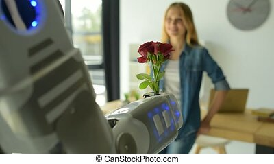 Adorable robotic machine giving girl bouquet of roses
