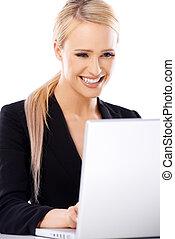 adorable, rubio, mujer de negocios, trabajo encendido, computador portatil