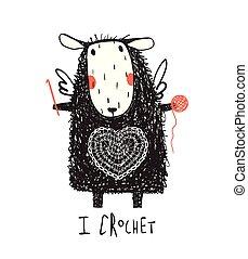Adorable sheep with yarn and crochet
