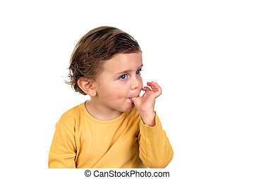 Adorable small child two years old isolated on a white...