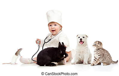 Adorable small kid doctor examining pets dog, cat, bunny and rat