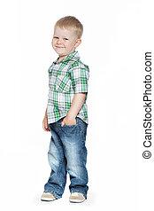 adorable, sonriente, niño pequeño, mira, el, espectador