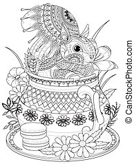 adorable squirrel adult coloring page - adult coloring page...