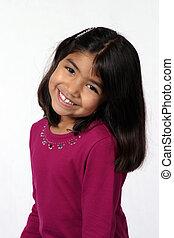 Adorable - cute black hair brown eye little girl smiling