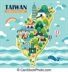 Taiwan travel map - adorable Taiwan travel map design with ...