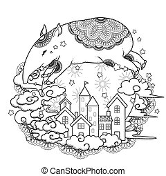 adorable tapir coloring page in exquisite style