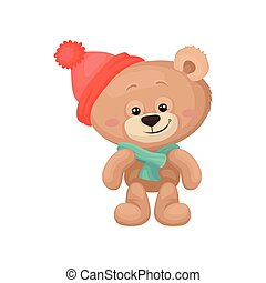 Adorable teddy bear with pink cheeks and shiny eyes wearing warm hat and scarf. Plush children toy. Flat vector design
