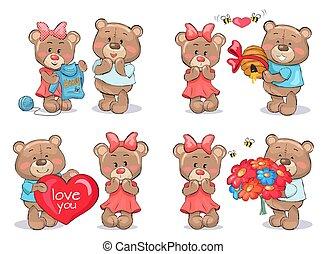 Adorable Teddy Bears Couples Exchange Presents