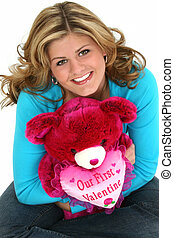Adorable Teen Gril with Valentine Bear - Close-up of a...