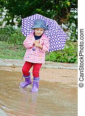 toddler girl at rainy day i