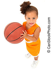 Adorable Toddler in Team Uniform with Basketball