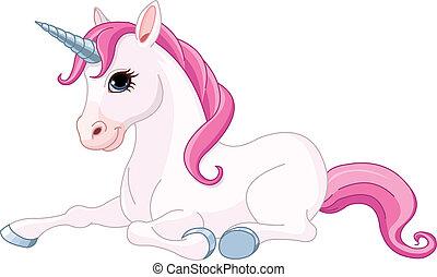 Adorable Unicorn - Illustration of adorable sitting Unicorn....