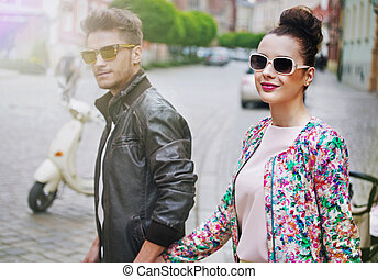Adorable woman with her handsome boyfriend