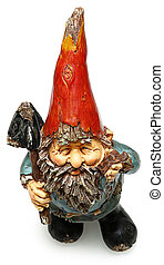 Adorable Wooden Garden Gnome with Shovel
