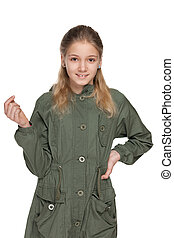 Adorable young girl in a jacket