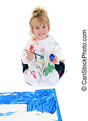 Adorable Young Girl Painting Poster Board on Floor