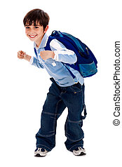 Adorable young kid holding his school bag