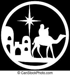 adoración, biblia, silueta, santo, escena, ilustración, fondo., magi, vector, negro, blanco, icono