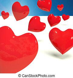 adoración, corazones del amor, caer, representar, rojo