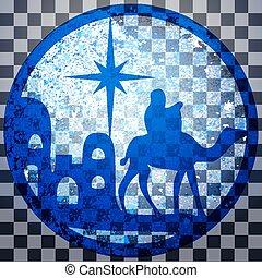 adoración, de, el, magi, silueta, icono, vector, ilustración, azul, en, gris, transparente, fondo., escena, de, el, biblia santa