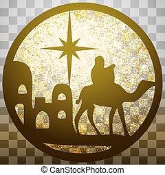 adoración, de, el, magi, silueta, icono, vector, ilustración, oro, en, gris, transparente, fondo., escena, de, el, biblia santa