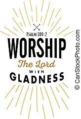 adoración, el señor, con, alegría