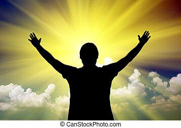adoration, à, dieu