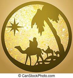 adoration, bible, silhouette, saint, or, scène, illustration, arrière-plan., magi, vecteur, icône