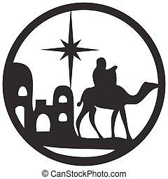 adoration, bible, silhouette, saint, scène, illustration, arrière-plan., magi, vecteur, blanc, icône