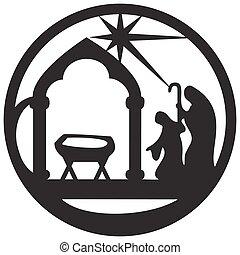 adoration, bible, silhouette, saint, scène, illustration, arrière-plan., magi, vecteur, noir, blanc, icône