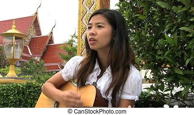 adoration, girl, chant, asiatique, chansons