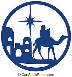 Adoration of the Magi silhouette icon vector illustration blue on white background. Scene of the Holy Bible
