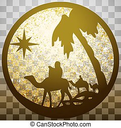 Adoration of the Magi silhouette icon vector illustration...