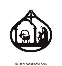 adoration, silhouette, illustration, magi, vecteur, arrière-plan noir, icône