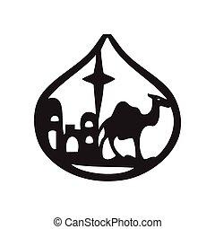 adoration, silhouette, illustration, magi, vecteur, icône