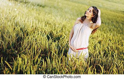 adorbale, kvinna, rörande, henne, mage