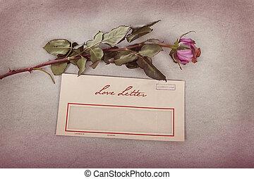 adore carta, en, vendimia, estilo, con, un, rosa