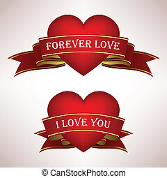adore corazón, cinta, rúbrica