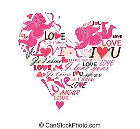 adore corazón, con, cupido