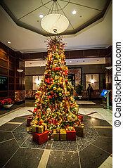 adornado, árbol interior, navidad
