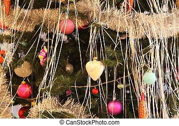 adornado, árbol, navidad, Plano de fondo