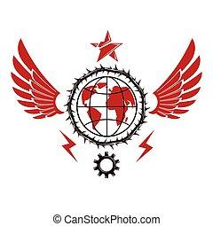 adornado, compuesto, totalitarian, símbolo, tierra,...
