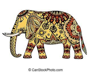 adornado, elefante indio