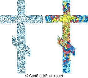 adornado, feriado, pascua, cruz, ortodoxo