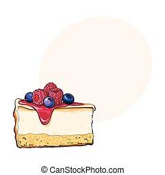 adornado, fresco, mano, dibujado, bayas, pastel de queso, ...