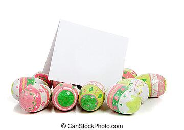 adornado, huevos de pascua, blanco, con, un, blanco, notecard