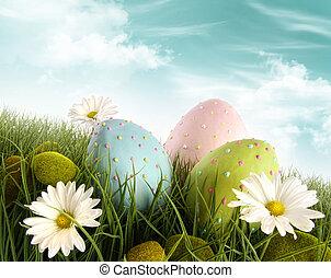 adornado, huevos de pascua, en, el, pasto o césped, con, margaritas