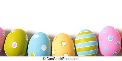 adornado, huevos de pascua, en, un, fondo blanco